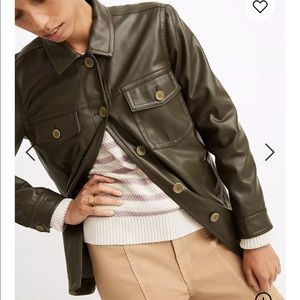 🎈New Madewell chore faux leather shirt jacket